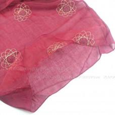 Шарф  двойной с вышивкой и блеском (бордовый)