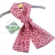 Тонкий шарф двойной с принтом (розовый)