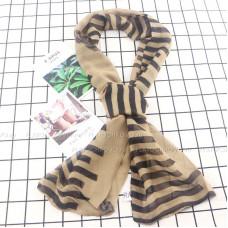 Тонкий шарф двойной с принтом (бежевый)