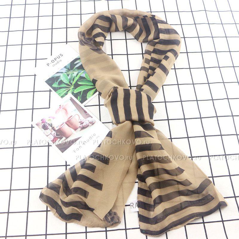 Тонкий шарф двойной с принтом