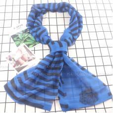Тонкий шарф двойной с принтом (голубой)