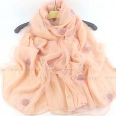 Шарф  двойной с вышивкой и блеском (персиковый)