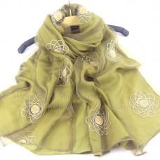 Шарф  двойной с вышивкой и блеском (зеленый)