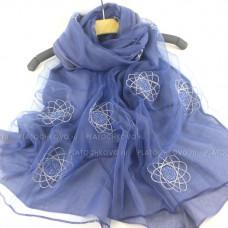 Шарф  двойной с вышивкой и блеском (синий)
