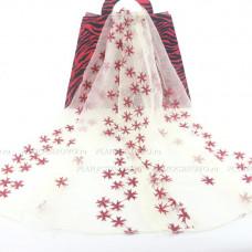 Тонкий  полупрозрачный шарф с вышивкой (кремовый)