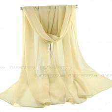 Шифоновый однотонный шарф   (бежевый)