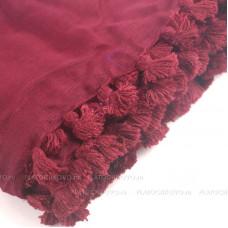Платок с кисточками (бордовый)