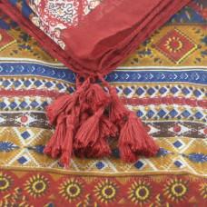 Шарф с орнаментом и кистями (бордовый)