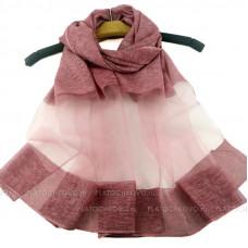 Тонкий шарф с полупрозрачной полосой (бордовый)