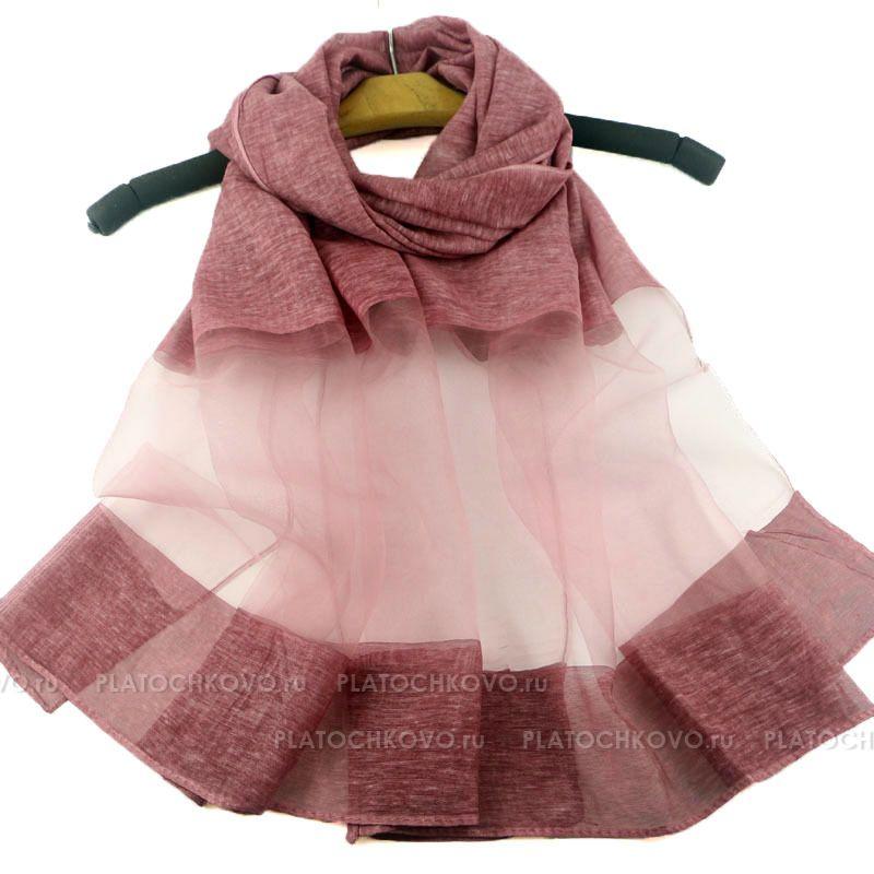 Тонкий шарф с полупрозрачной полосой