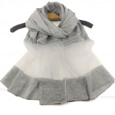 Тонкий шарф с полупрозрачной полосой (серый)