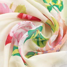 Шарф тонкий с живописными цветами (кремовый)