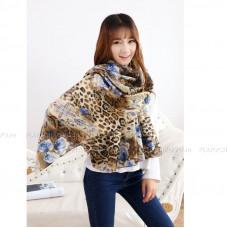 Тонкий шарф с леопардовым принтом и цветами (бежевый)