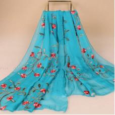 Тонкий шарф с вышивкой  цветов омелы (бирюзовый)