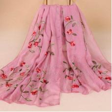 Тонкий шарф с вышивкой  цветов омелы (розовый)