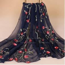 Тонкий шарф с вышивкой  цветов омелы (синий)