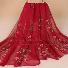 Тонкий шарф с вышивкой  цветов омелы (бордовый)