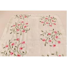 Тонкий шарф с вышивкой  цветов омелы (кремовый)