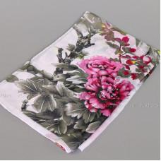 Шарф тонкий с хризантемами (белый)