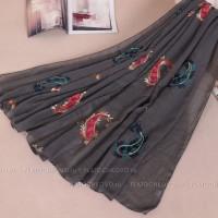 Шарф с вышивкой в восточном стиле (серый)