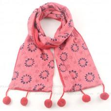 Шарф детский двойной с кистями (розовый)
