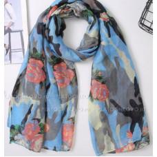 Камуфляжный шарф с цветами (голубой)