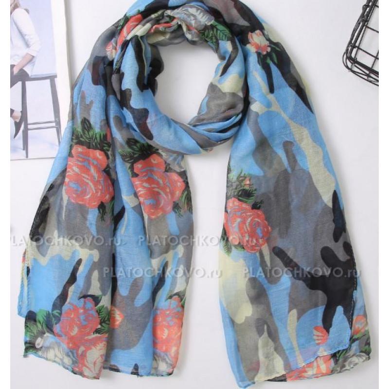 Камуфляжный шарф с цветами