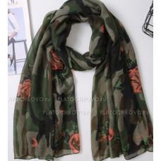 Камуфляжный шарф с цветами (зеленый)