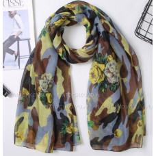 Камуфляжный шарф с цветами (желтый)