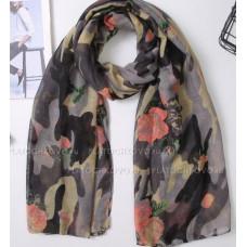 Камуфляжный шарф с цветами (серый)