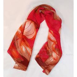 """Тонкий шарф """"Гофре и цветы"""" (красный)"""
