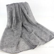 Тонкий шарф с мелким леопардовым принтом (серый)