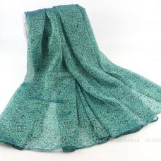 Тонкий шарф с мелким леопардовым принтом (зеленый)