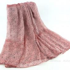Тонкий шарф с мелким леопардовым принтом (розовый 04)