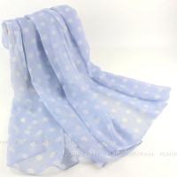 Тонкий шарф в крупный горошек (голубой)