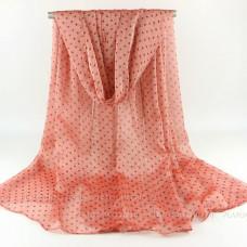 Тонкий шарф  в мелкий горошек (персиковый)