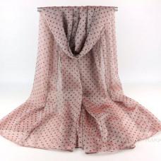 Тонкий шарф  в мелкий горошек (розовый)