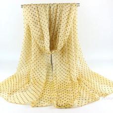 Тонкий шарф  в мелкий горошек (желтый)