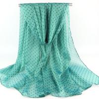 Тонкий шарф  в мелкий горошек (зеленый)