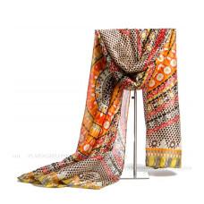 Тонкий шарф с этническим орнаментом (оранжевый)