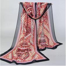 """Тонкий шарф """"Изысканный орнамент"""" (черный)"""