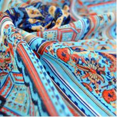 """Тонкий шарф """"Изысканный орнамент"""" (бирюзовый 05)"""