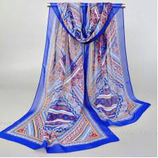 """Тонкий шарф """"Изысканный орнамент"""" (синий)"""