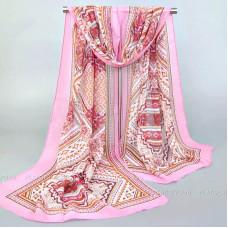 """Тонкий шарф """"Изысканный орнамент"""" (розовый)"""