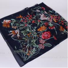 Тонкий шарф с цветочным рисунком (синий)