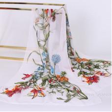 Тонкий шарф с цветочным рисунком (белый)