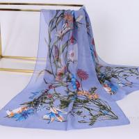 Тонкий шарф с цветочным рисунком (сиреневый)