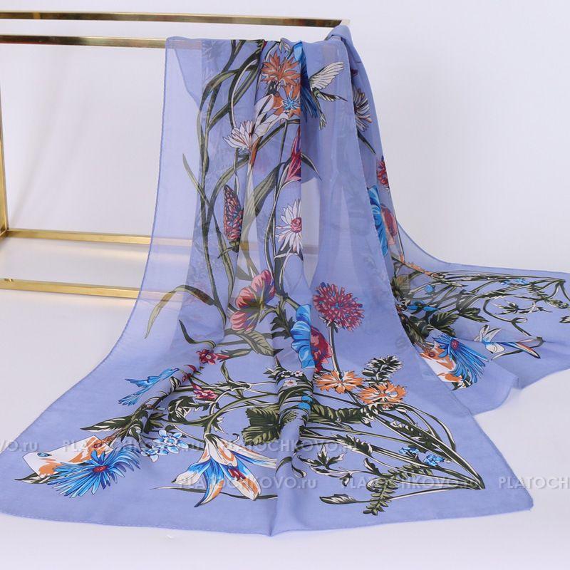 Тонкий шарф с цветочным рисунком