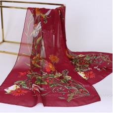 Тонкий шарф с цветочным рисунком (бордовый)