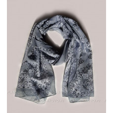 """Тонкий шарф """"Классический орнамент"""" (серый)"""